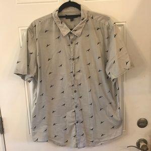 John Varvatos USA XL Light Grey Crow Print Shirt